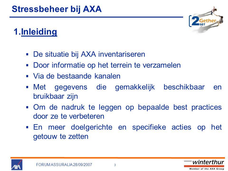 3 FORUM ASSURALIA 28/09/2007 1.Inleiding  De situatie bij AXA inventariseren  Door informatie op het terrein te verzamelen  Via de bestaande kanale
