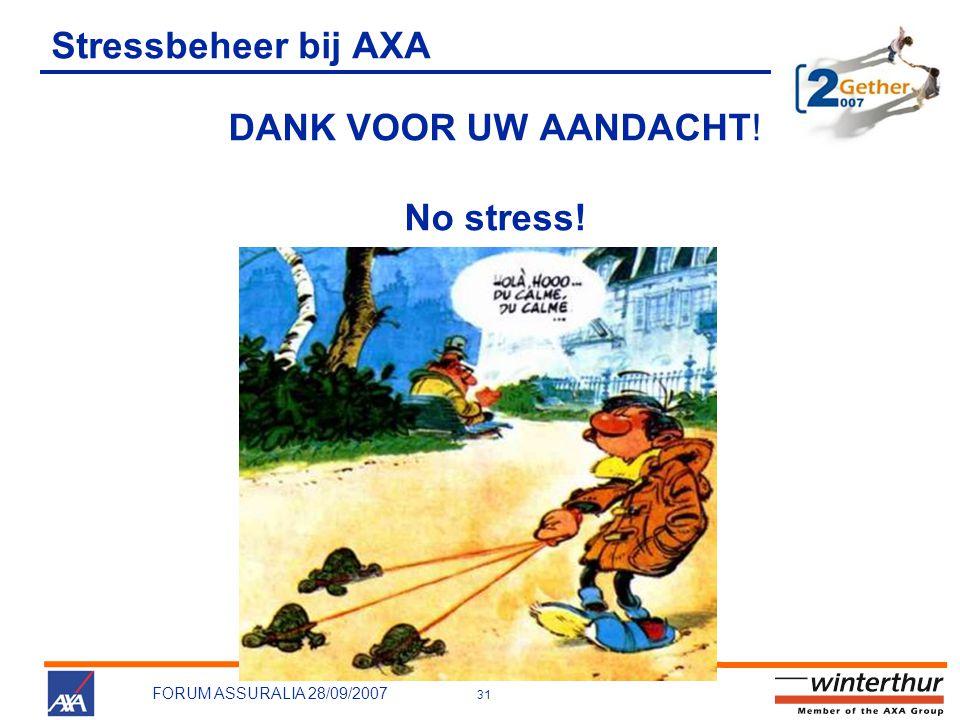 31 FORUM ASSURALIA 28/09/2007 Stressbeheer bij AXA DANK VOOR UW AANDACHT! No stress!