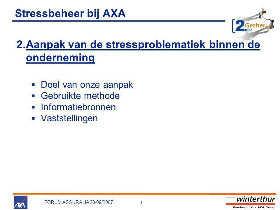 4 FORUM ASSURALIA 28/09/2007 Stressbeheer bij AXA 2.Aanpak van de stressproblematiek binnen de onderneming  Doel van onze aanpak  Gebruikte methode  Informatiebronnen  Vaststellingen