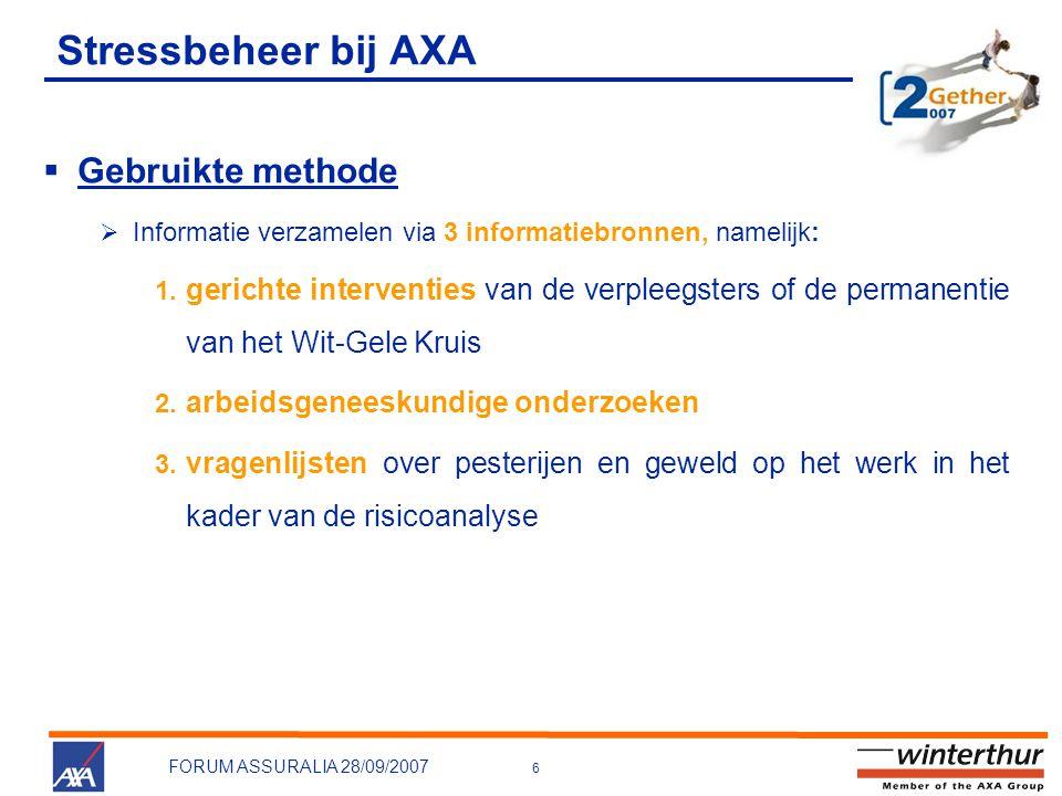 6 FORUM ASSURALIA 28/09/2007 Stressbeheer bij AXA  Gebruikte methode  Informatie verzamelen via 3 informatiebronnen, namelijk: 1. gerichte intervent