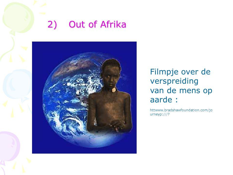 2)Out of Afrika Filmpje over de verspreiding van de mens op aarde : httwww.bradshawfoundation.com/jo urneyp:///?