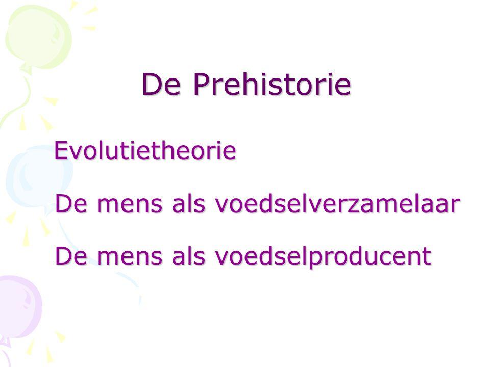 De Prehistorie Evolutietheorie De mens als voedselverzamelaar De mens als voedselproducent Evolutietheorie De mens als voedselverzamelaar De mens als