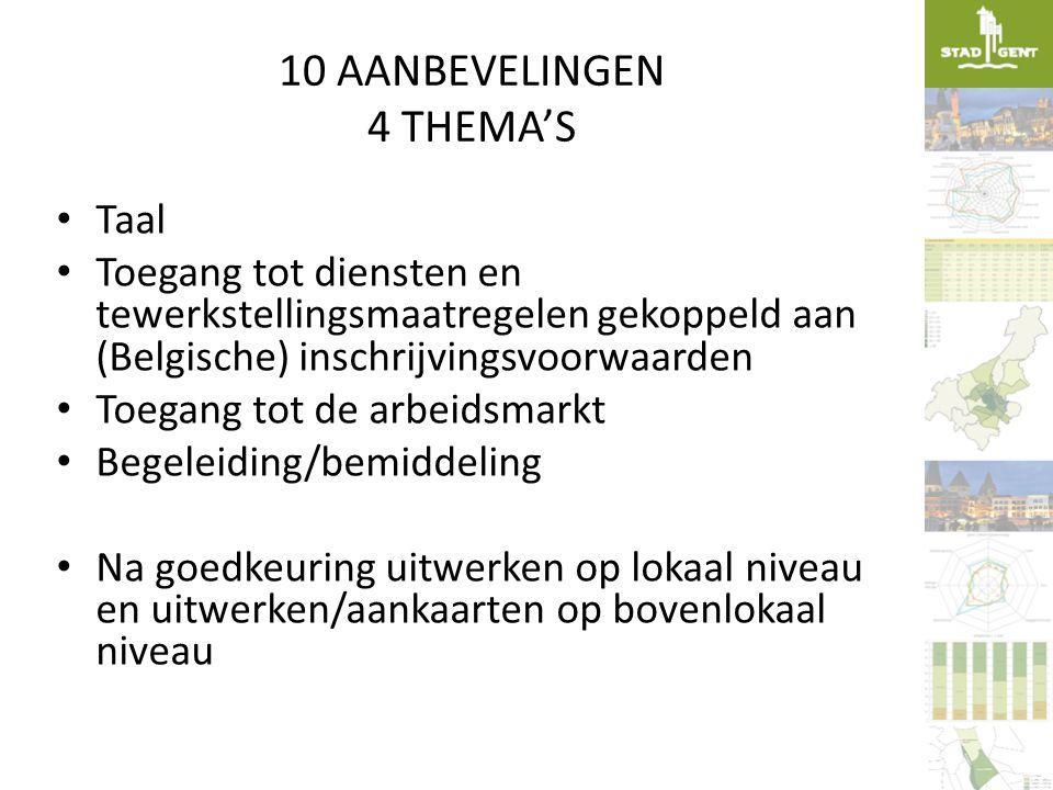 10 AANBEVELINGEN 4 THEMA'S • Taal • Toegang tot diensten en tewerkstellingsmaatregelen gekoppeld aan (Belgische) inschrijvingsvoorwaarden • Toegang to
