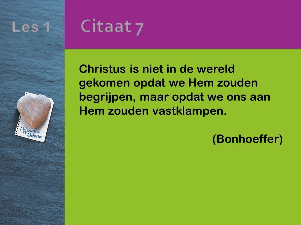 Christus is niet in de wereld gekomen opdat we Hem zouden begrijpen, maar opdat we ons aan Hem zouden vastklampen. (Bonhoeffer)