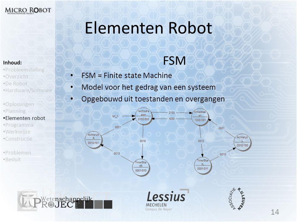 Elementen Robot FSM • FSM = Finite state Machine • Model voor het gedrag van een systeem • Opgebouwd uit toestanden en overgangen 14 Inhoud: • Problee