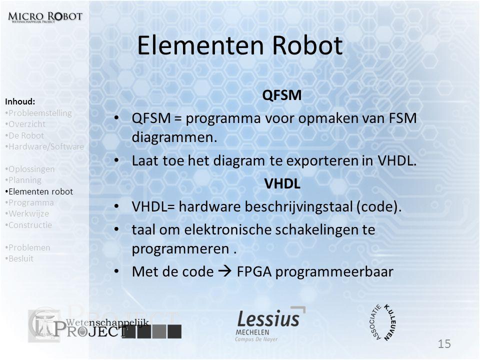 Elementen Robot QFSM • QFSM = programma voor opmaken van FSM diagrammen. • Laat toe het diagram te exporteren in VHDL. VHDL • VHDL= hardware beschrijv