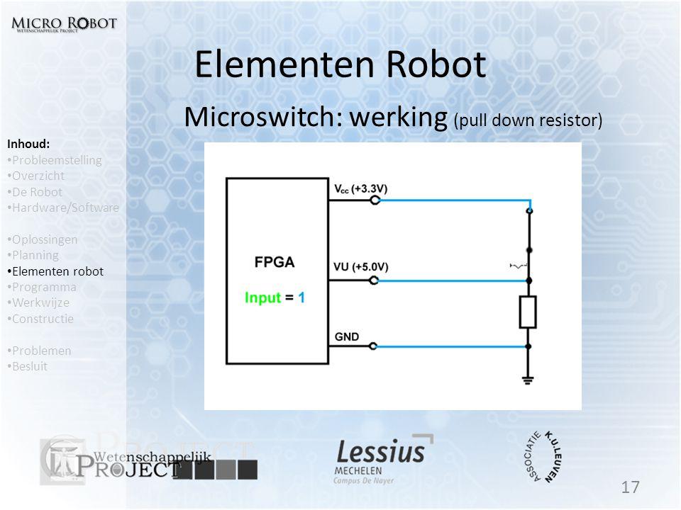 Elementen Robot 17 Inhoud: • Probleemstelling • Overzicht • De Robot • Hardware/Software • Oplossingen • Planning • Elementen robot • Programma • Werk