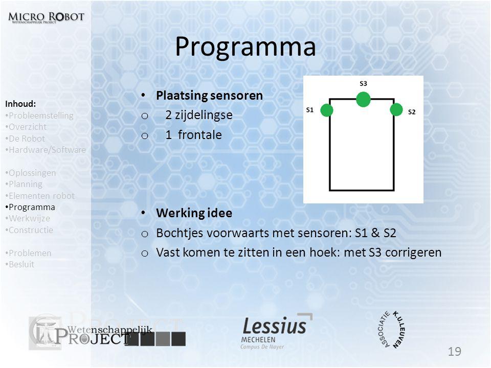 Programma • Plaatsing sensoren o 2 zijdelingse o 1 frontale • Werking idee o Bochtjes voorwaarts met sensoren: S1 & S2 o Vast komen te zitten in een h