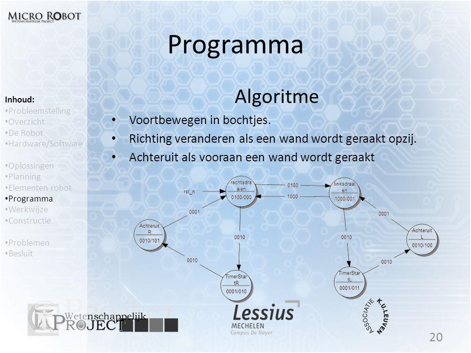 Programma Algoritme • Voortbewegen in bochtjes. • Richting veranderen als een wand wordt geraakt opzij. • Achteruit als vooraan een wand wordt geraakt