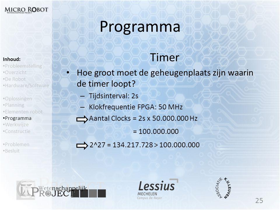 Programma Timer • Hoe groot moet de geheugenplaats zijn waarin de timer loopt? – Tijdsinterval: 2s – Klokfrequentie FPGA: 50 MHz – Aantal Clocks = 2s