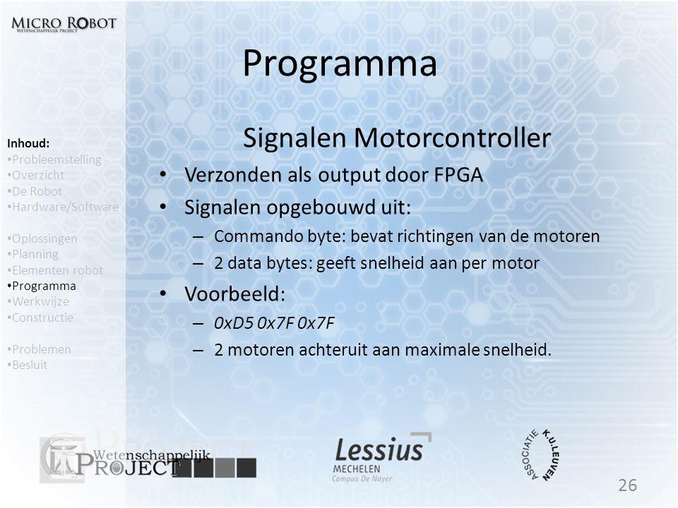 Programma Signalen Motorcontroller • Verzonden als output door FPGA • Signalen opgebouwd uit: – Commando byte: bevat richtingen van de motoren – 2 dat
