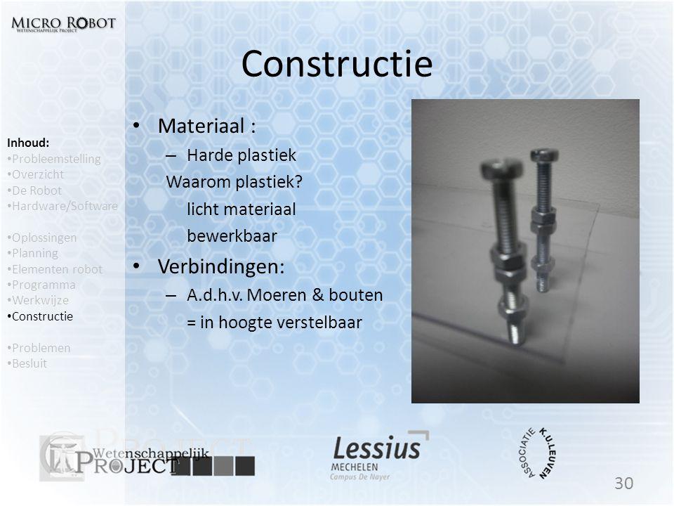 Constructie • Materiaal : – Harde plastiek Waarom plastiek? licht materiaal bewerkbaar • Verbindingen: – A.d.h.v. Moeren & bouten = in hoogte verstelb