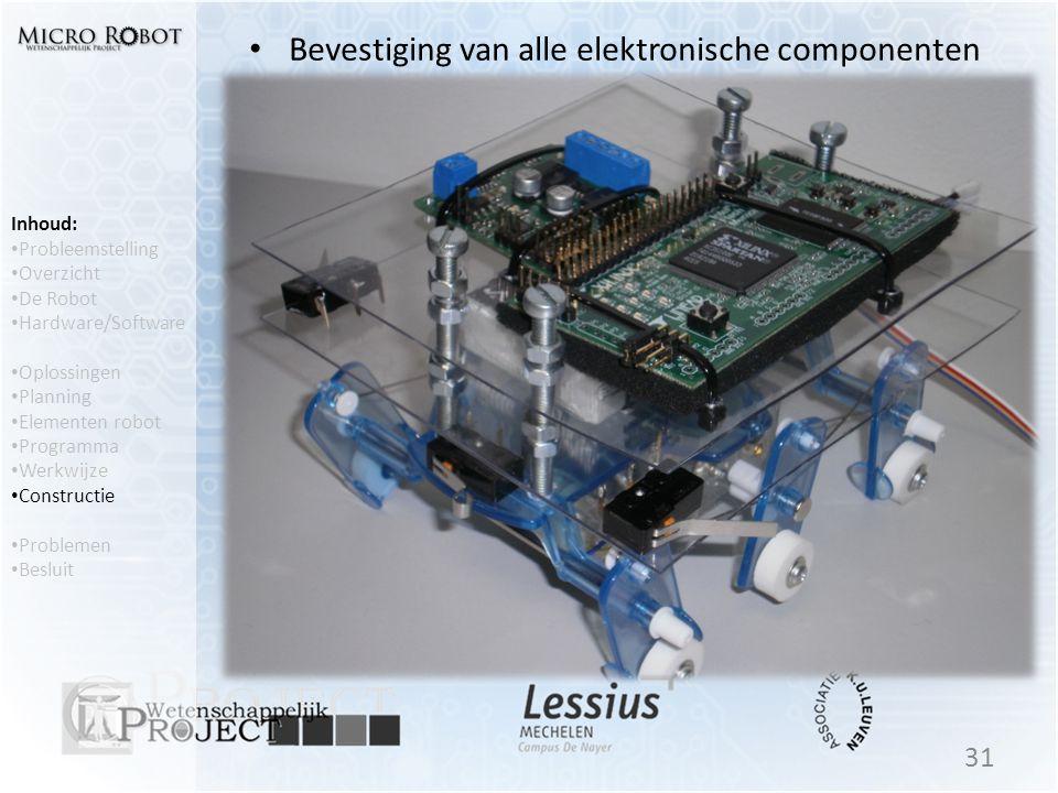 • Bevestiging van alle elektronische componenten 31 Inhoud: • Probleemstelling • Overzicht • De Robot • Hardware/Software • Oplossingen • Planning • E