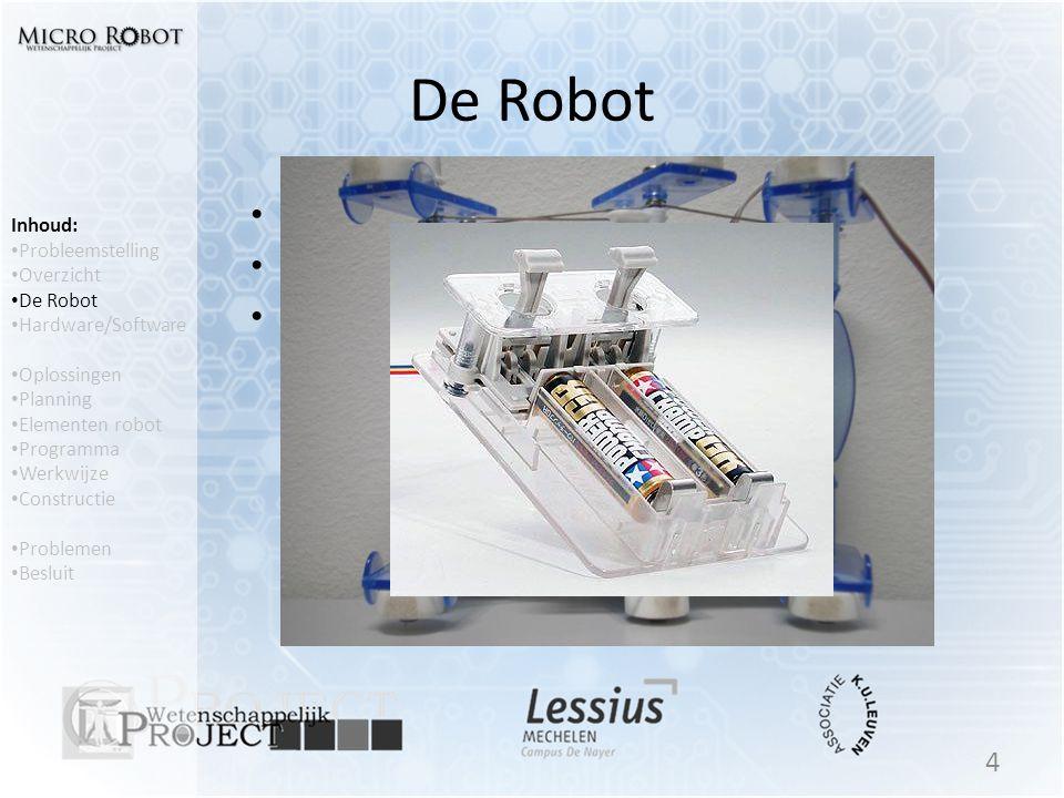 De Robot • Tamiya Insect • 2 Motoren • Bediening 4 Inhoud: • Probleemstelling • Overzicht • De Robot • Hardware/Software • Oplossingen • Planning • El