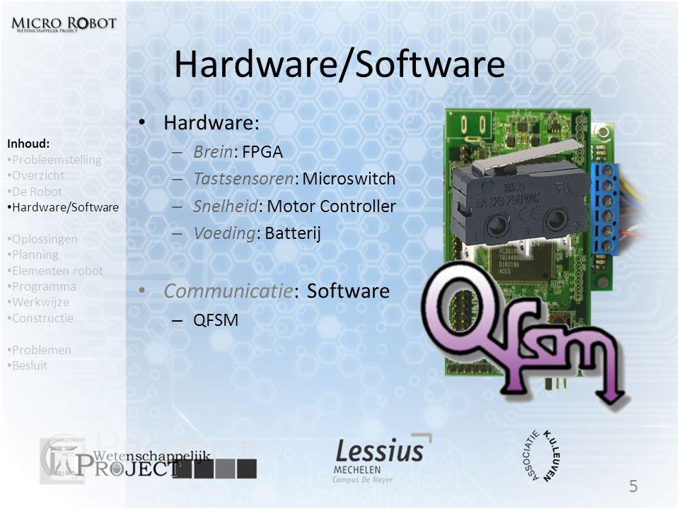 Inhoud: • Probleemstelling • Overzicht • De Robot • Hardware/Software • Oplossingen • Planning • Elementen robot • Programma • Werkwijze • Constructie