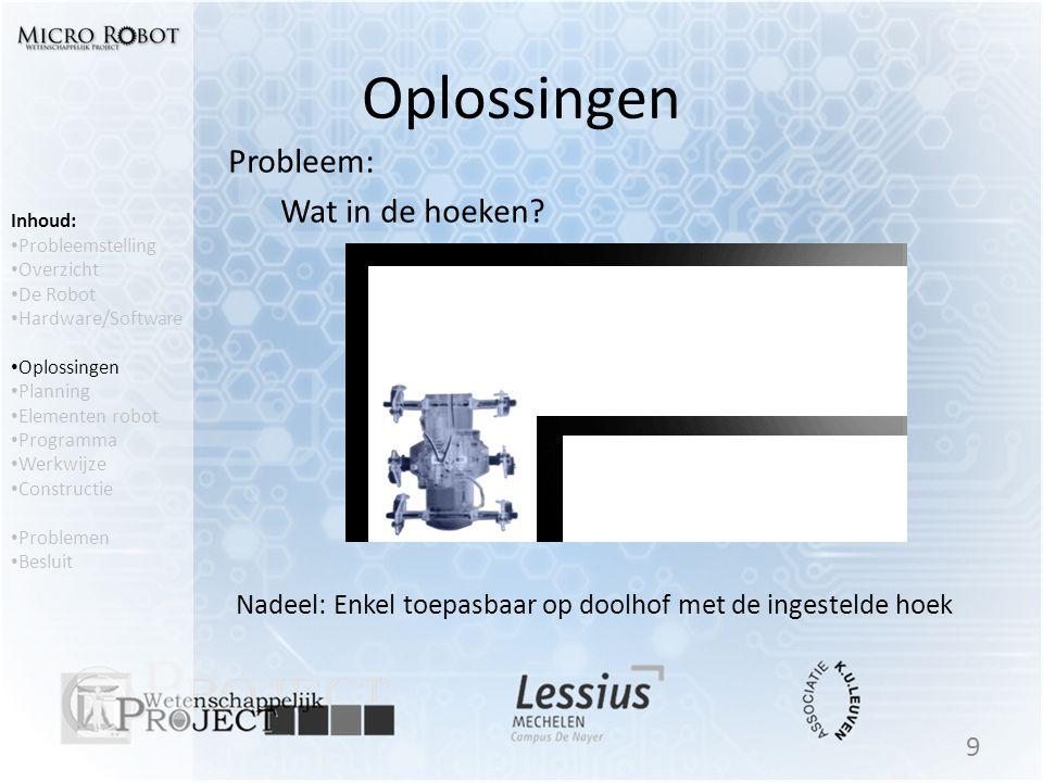 Oplossingen Probleem: Wat in de hoeken? 9 Inhoud: • Probleemstelling • Overzicht • De Robot • Hardware/Software • Oplossingen • Planning • Elementen r