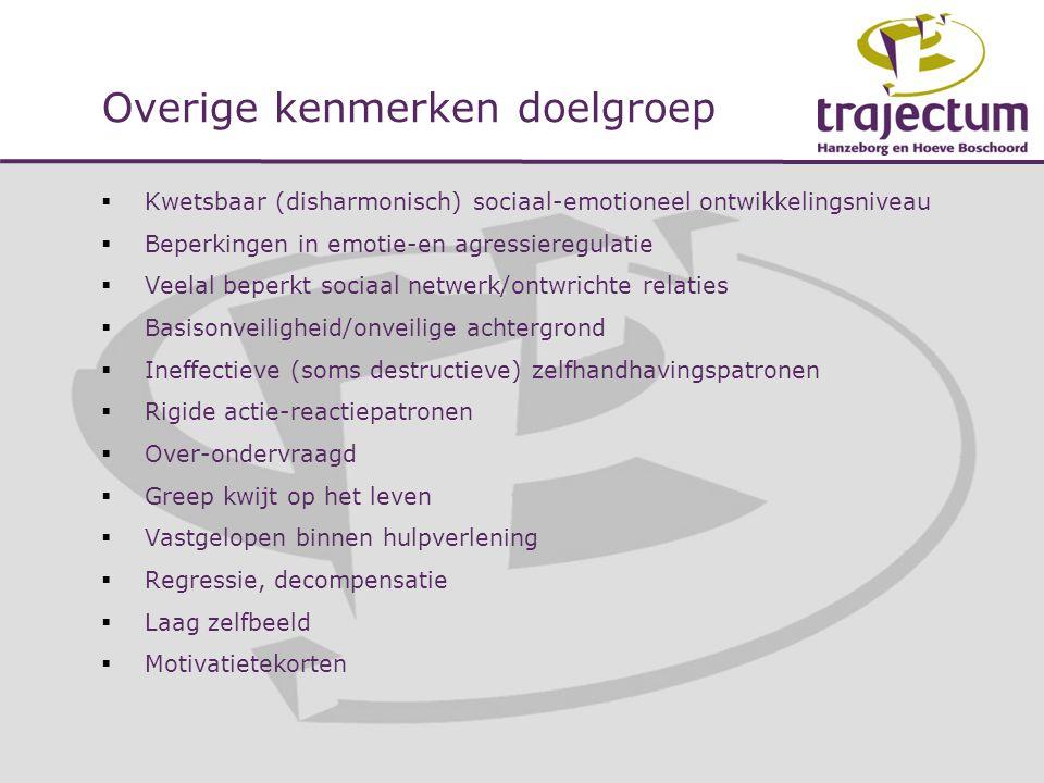 Overige kenmerken doelgroep  Kwetsbaar (disharmonisch) sociaal-emotioneel ontwikkelingsniveau  Beperkingen in emotie-en agressieregulatie  Veelal b