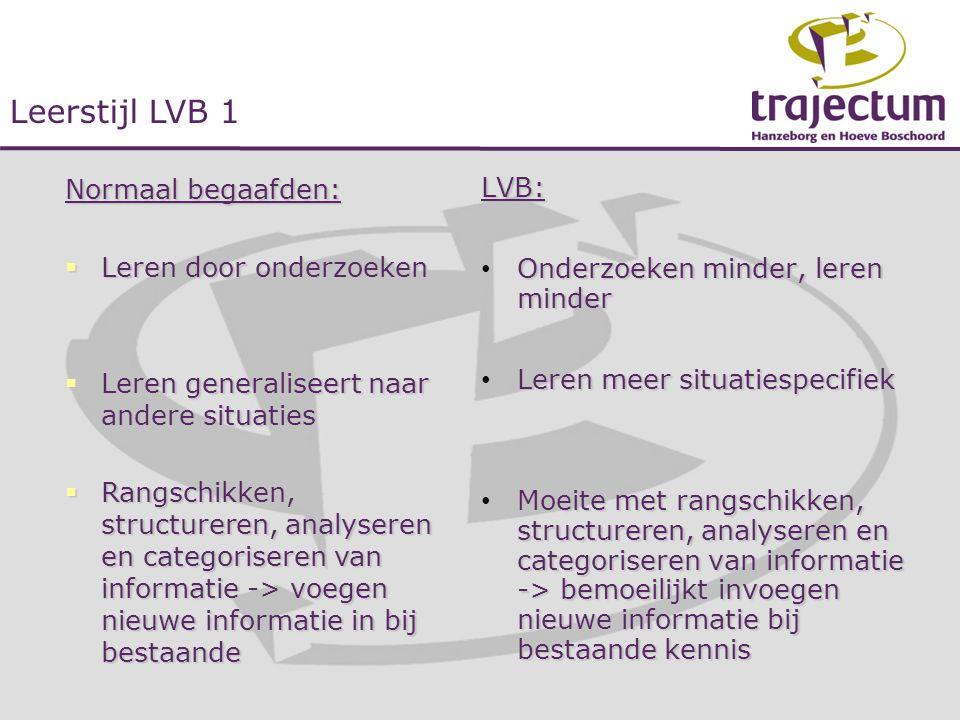 LVB: • Onderzoeken minder, leren minder • Leren meer situatiespecifiek • Moeite met rangschikken, structureren, analyseren en categoriseren van inform