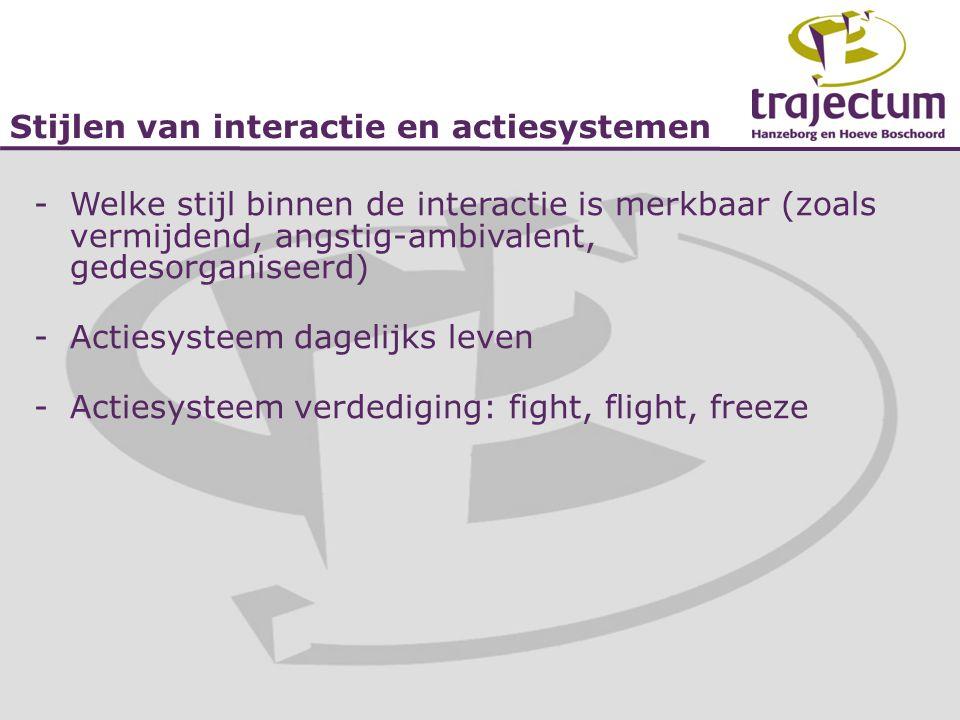Stijlen van interactie en actiesystemen -Welke stijl binnen de interactie is merkbaar (zoals vermijdend, angstig-ambivalent, gedesorganiseerd) -Acties