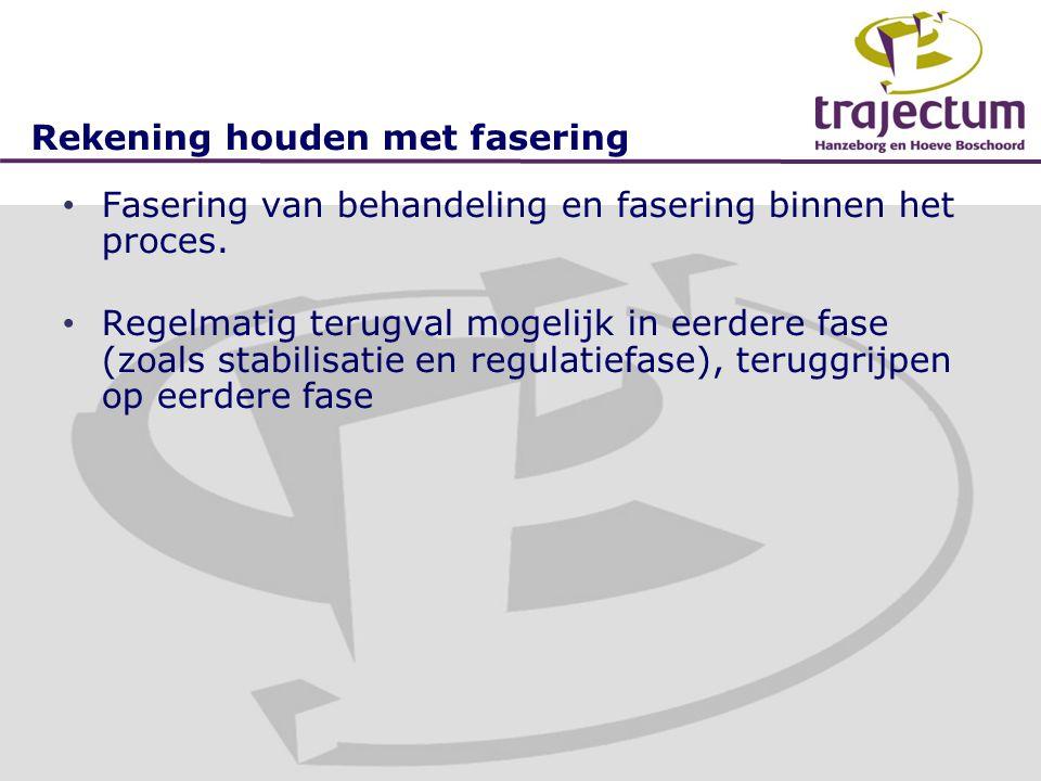 Rekening houden met fasering • Fasering van behandeling en fasering binnen het proces. • Regelmatig terugval mogelijk in eerdere fase (zoals stabilisa