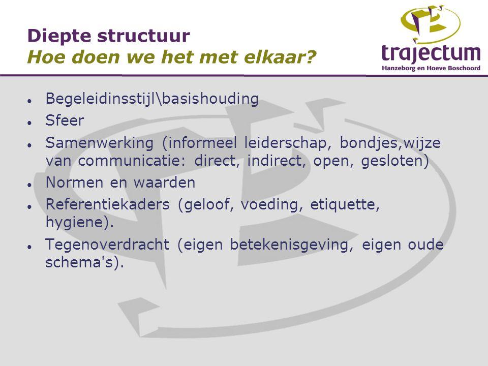 Diepte structuur Hoe doen we het met elkaar?  Begeleidinsstijl\basishouding  Sfeer  Samenwerking (informeel leiderschap, bondjes,wijze van communic
