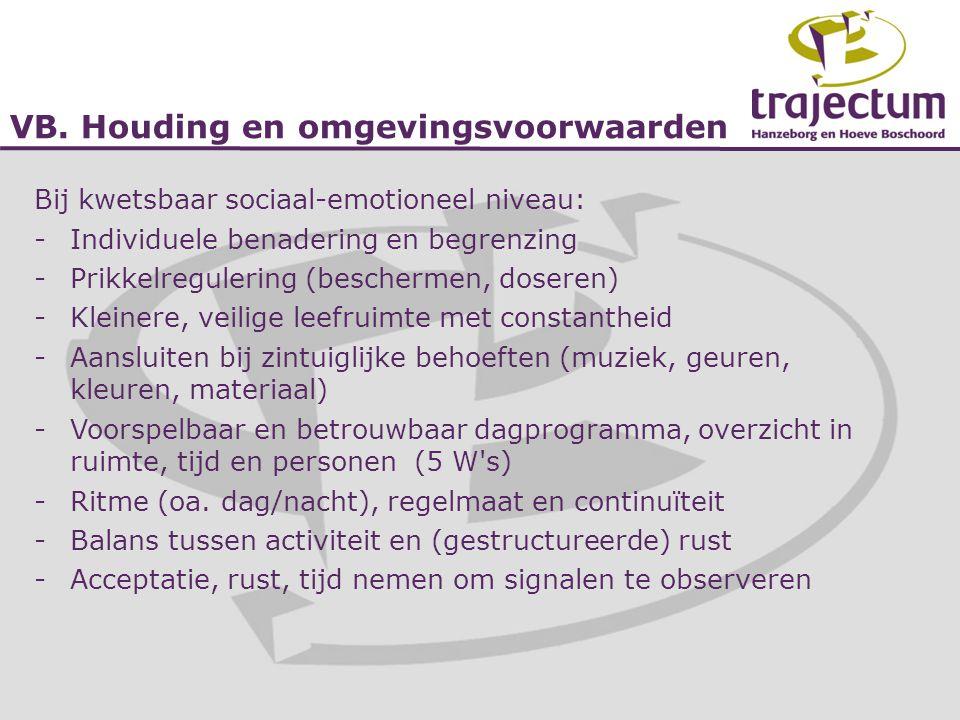 VB. Houding en omgevingsvoorwaarden Bij kwetsbaar sociaal-emotioneel niveau: -Individuele benadering en begrenzing -Prikkelregulering (beschermen, dos