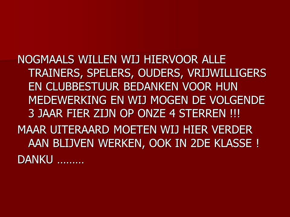NOGMAALS WILLEN WIJ HIERVOOR ALLE TRAINERS, SPELERS, OUDERS, VRIJWILLIGERS EN CLUBBESTUUR BEDANKEN VOOR HUN MEDEWERKING EN WIJ MOGEN DE VOLGENDE 3 JAAR FIER ZIJN OP ONZE 4 STERREN !!.