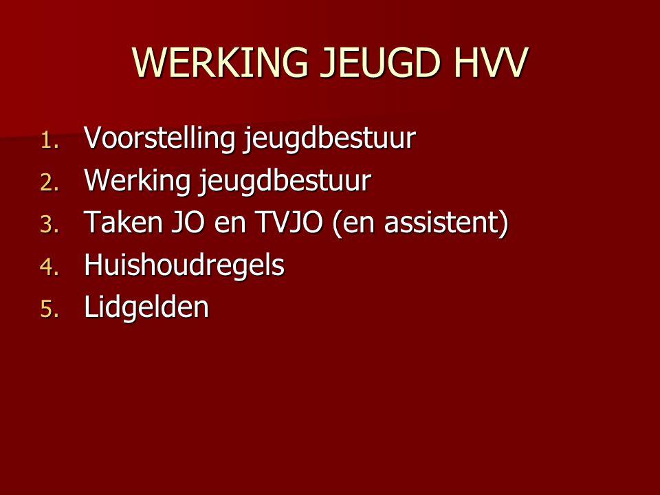 WERKING JEUGD HVV 1.Voorstelling jeugdbestuur 2. Werking jeugdbestuur 3.