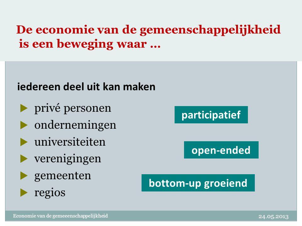 De economie van de gemeenschappelijkheid is een beweging waar …  privé personen  ondernemingen  universiteiten  verenigingen  gemeenten  regios