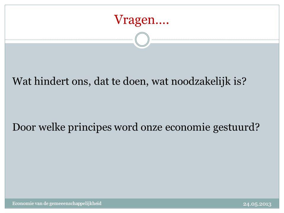 Vragen…. Wat hindert ons, dat te doen, wat noodzakelijk is? Door welke principes word onze economie gestuurd? 24.05.2013 Economie van de gemeeenschapp