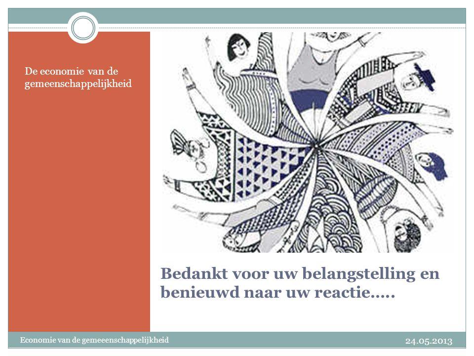 Bedankt voor uw belangstelling en benieuwd naar uw reactie….. De economie van de gemeenschappelijkheid 24.05.2013 Economie van de gemeeenschappelijkhe