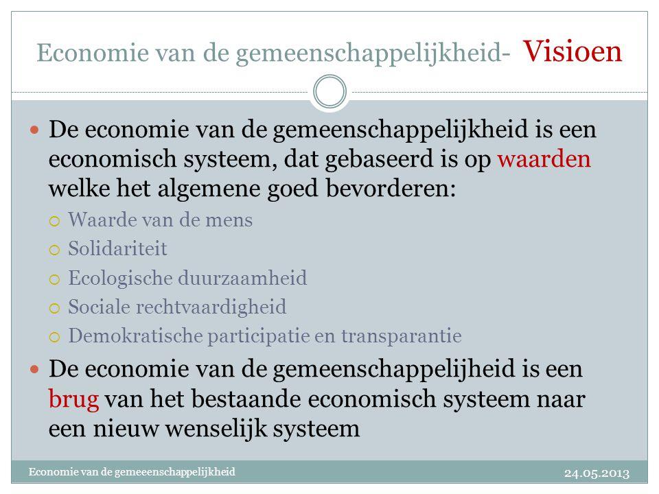 Economie van de gemeenschappelijkheid- Visioen  De economie van de gemeenschappelijkheid is een economisch systeem, dat gebaseerd is op waarden welke