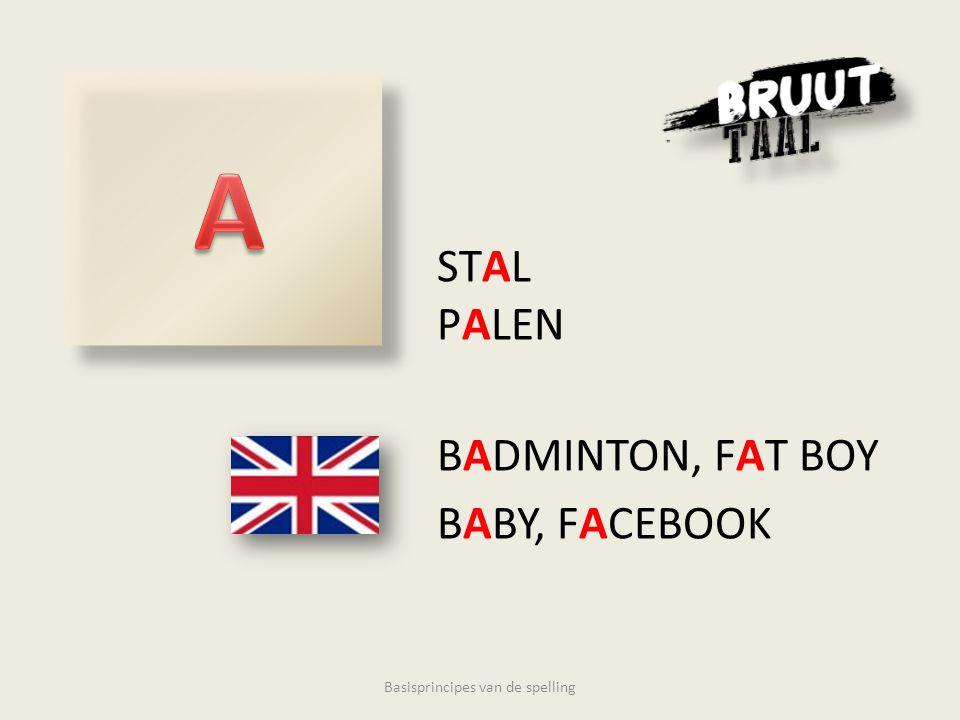 STAL PALEN BADMINTON, FAT BOY BABY, FACEBOOK Basisprincipes van de spelling
