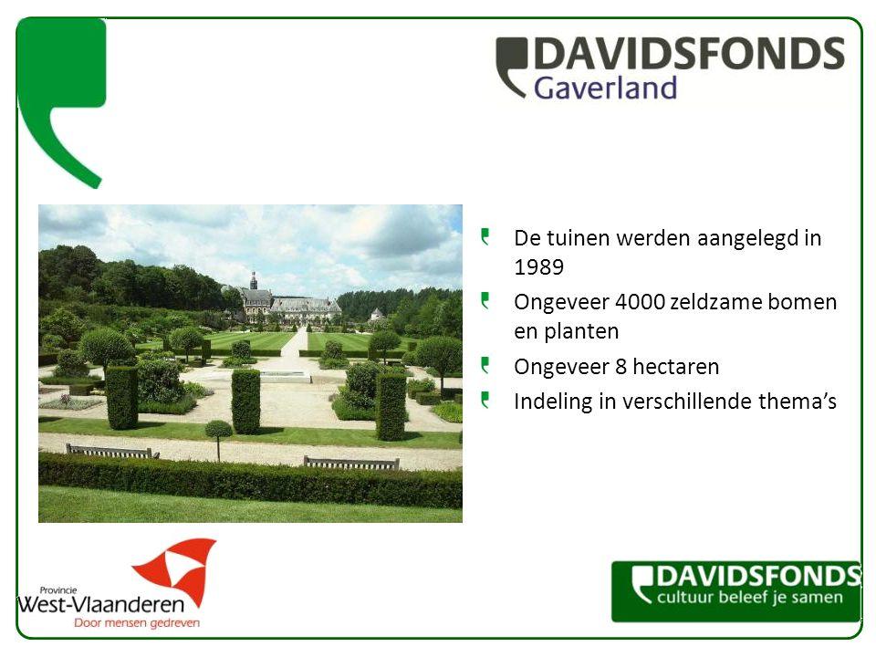 De tuinen werden aangelegd in 1989 Ongeveer 4000 zeldzame bomen en planten Ongeveer 8 hectaren Indeling in verschillende thema's