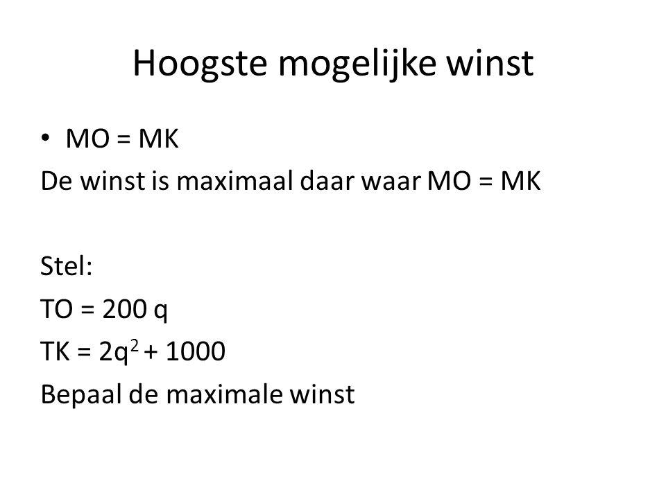 Hoogste mogelijke winst • MO = MK De winst is maximaal daar waar MO = MK Stel: TO = 200 q TK = 2q 2 + 1000 Bepaal de maximale winst