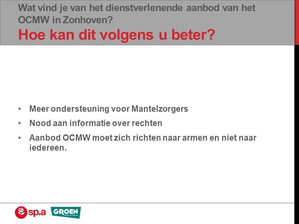 Wat vind je van het dienstverlenende aanbod van het OCMW in Zonhoven? Hoe kan dit volgens u beter? •Meer ondersteuning voor Mantelzorgers •Nood aan in