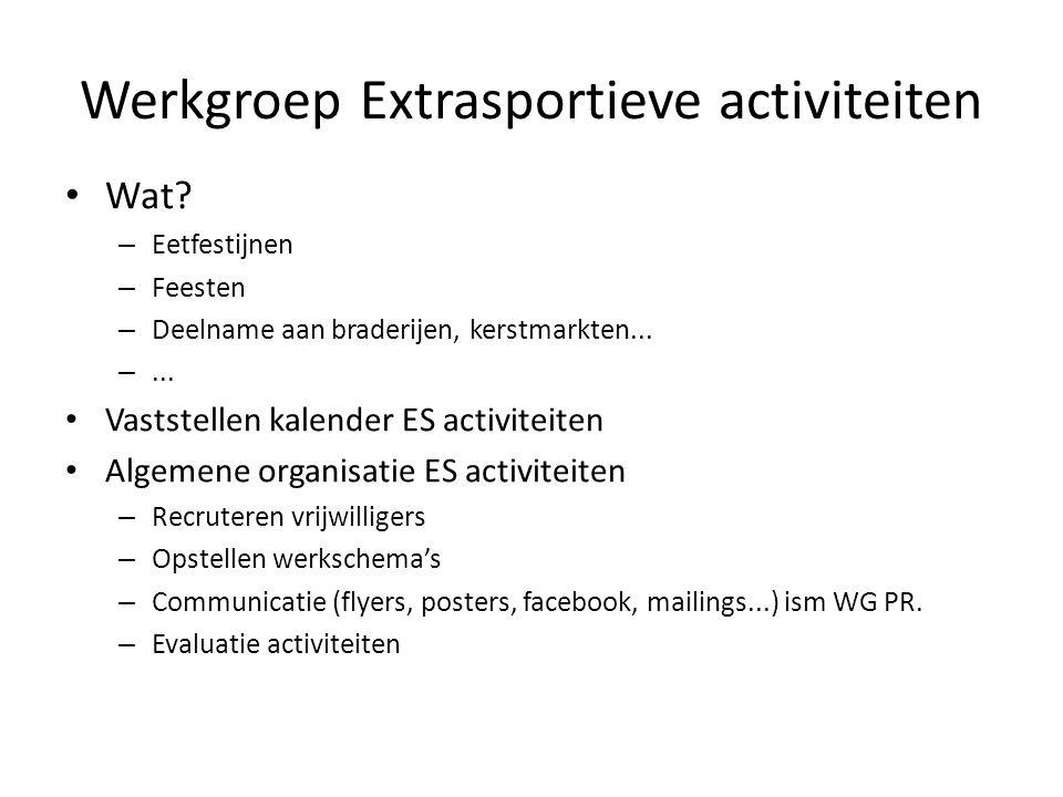 Werkgroep Extrasportieve activiteiten • Wat? – Eetfestijnen – Feesten – Deelname aan braderijen, kerstmarkten... –... • Vaststellen kalender ES activi