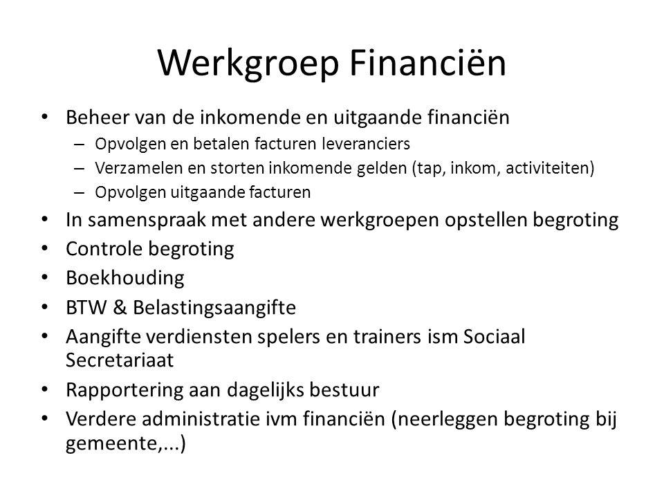 Werkgroep Financiën • Beheer van de inkomende en uitgaande financiën – Opvolgen en betalen facturen leveranciers – Verzamelen en storten inkomende gel