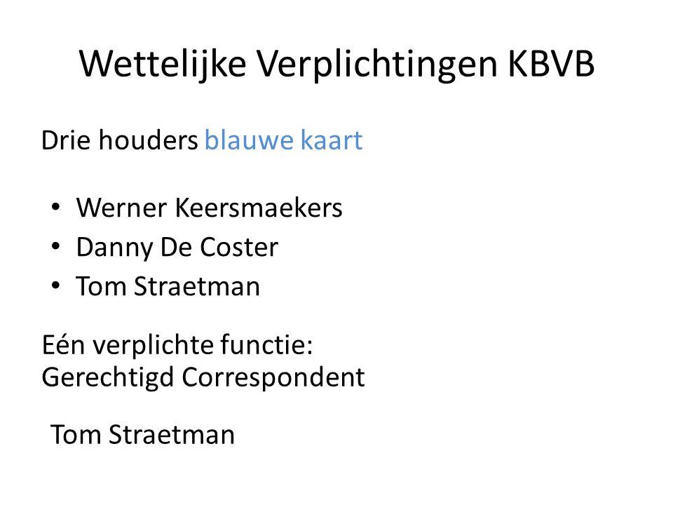 Wettelijke Verplichtingen KBVB Drie houders blauwe kaart • Werner Keersmaekers • Danny De Coster • Tom Straetman Eén verplichte functie: Gerechtigd Co