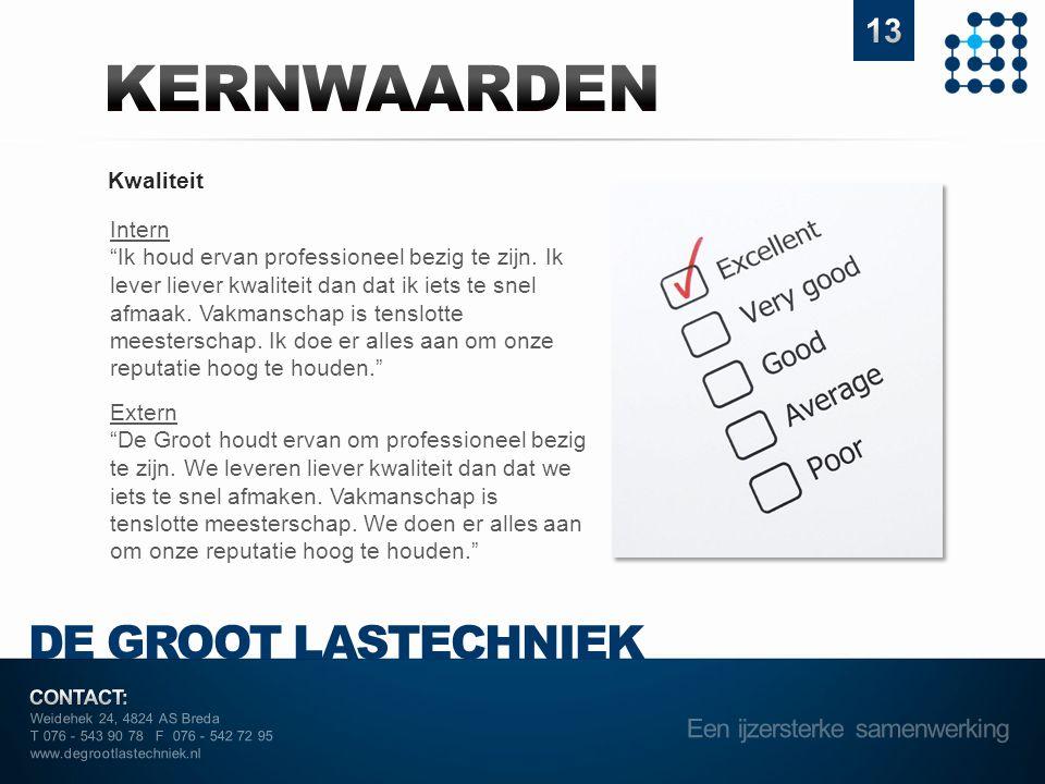 "Weidehek 24, 4824 AS Breda T 076 - 543 90 78 F 076 - 542 72 95 www.degrootlastechniek.nl Kwaliteit Intern ""Ik houd ervan professioneel bezig te zijn."
