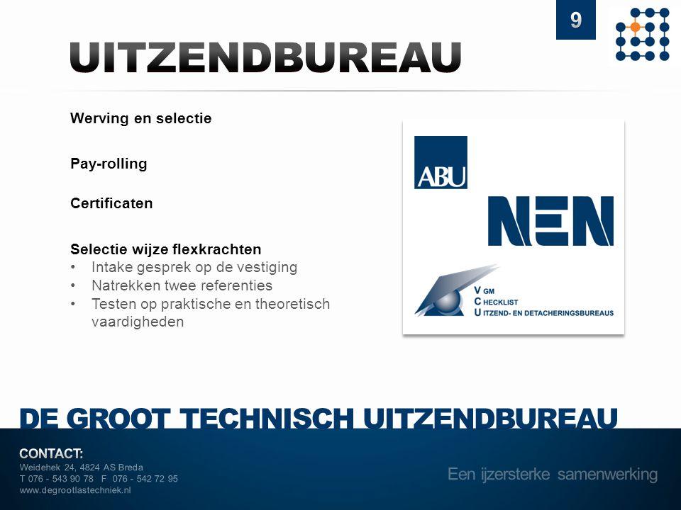 Weidehek 24, 4824 AS Breda T 076 - 543 90 78 F 076 - 542 72 95 www.degrootlastechniek.nl DE GROOT TECHNISCH UITZENDBUREAU Werving en selectie Pay-roll