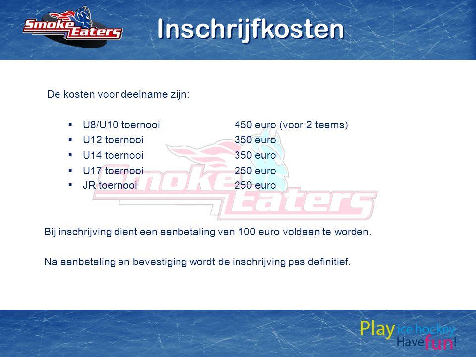 De kosten voor deelname zijn:  U8/U10 toernooi450 euro (voor 2 teams)  U12 toernooi350 euro  U14 toernooi350 euro  U17 toernooi250 euro  JR toern