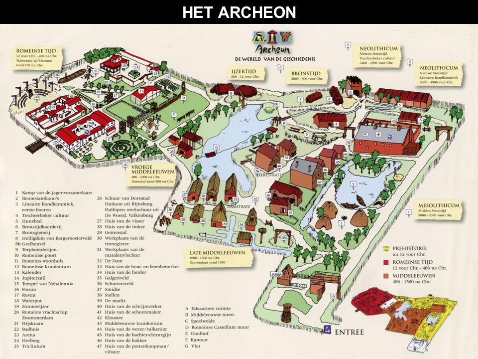 HET ARCHEON  Het Archeon is een archeologisch themapark in Alphen aan de Rijn  De thema's zijn: 1. De Prehistorie: jagers/verzamelaars 3. De Oudheid