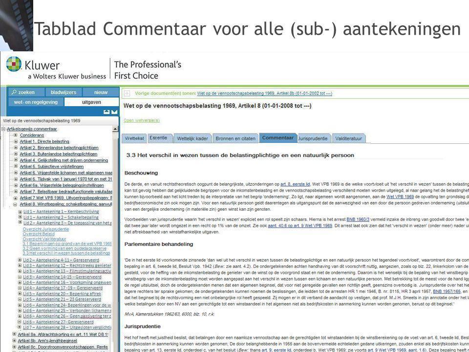 Tabblad Commentaar voor alle (sub-) aantekeningen