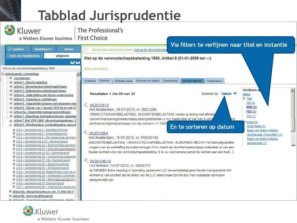 Tabblad Jurisprudentie Via filters te verfijnen naar titel en instantie En te sorteren op datum
