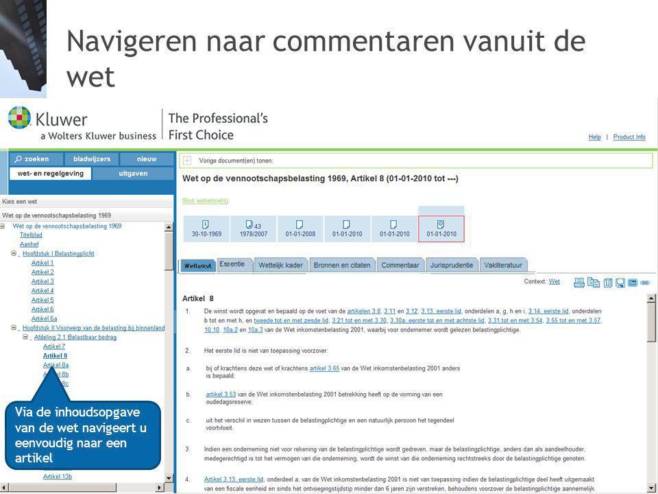 Navigeren naar commentaren vanuit de wet 24 Via de inhoudsopgave van de wet navigeert u eenvoudig naar een artikel