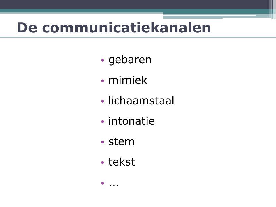 De communicatiekanalen • gebaren • mimiek • lichaamstaal • intonatie • stem • tekst •...