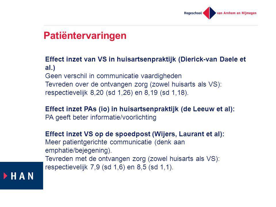 Patiëntervaringen Effect inzet van VS in huisartsenpraktijk (Dierick-van Daele et al.) Geen verschil in communicatie vaardigheden Tevreden over de ontvangen zorg (zowel huisarts als VS): respectievelijk 8,20 (sd 1,26) en 8,19 (sd 1,18).