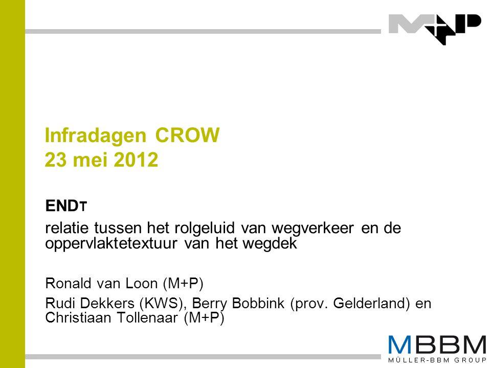 Infradagen CROW 23 mei 2012 END T relatie tussen het rolgeluid van wegverkeer en de oppervlaktetextuur van het wegdek Ronald van Loon (M+P) Rudi Dekke