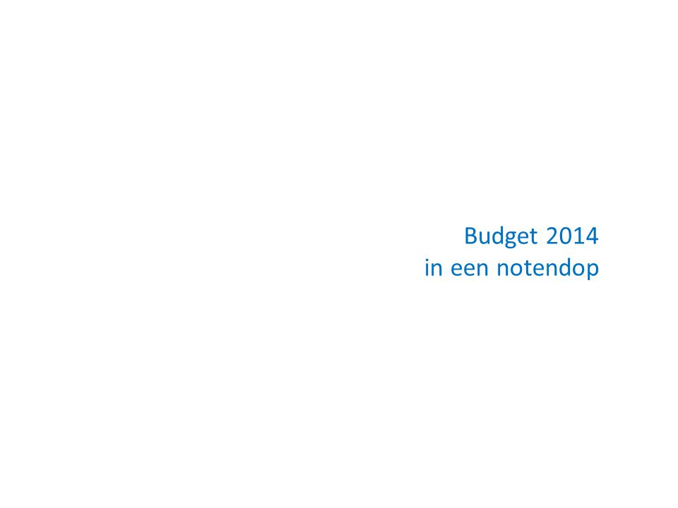 Budget 2014 in een notendop